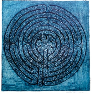 """Labyrinth,"" 2011. 15""x15"" Collagraph"