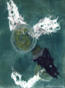"""Blue Spirit,"" 2003. 9""x12"" Monotype & Mixed media"