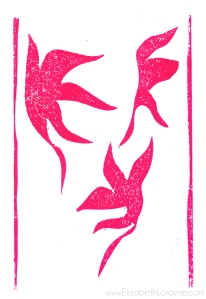 """Winged Leaves"" 2012. 4""x6"" linocut"
