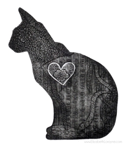 """Love Cat with Heart"" 2011. 22"" x 30"" collagraph"