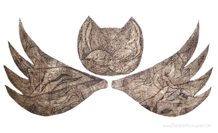"""Owl-Bat,"" 2011. 22""x30"" collagraph"
