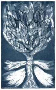 """Tree in Flight,"" 2011. Etching"