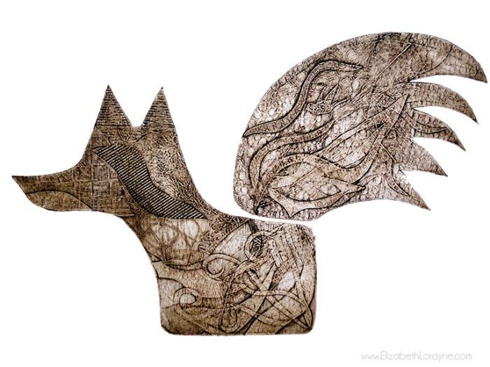 """Fox in Flight Sepia"" 2011. 22""x30"" collagraph"