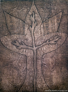 """Embossed Spirit Vine, Sepia"" 2011. collagraph"