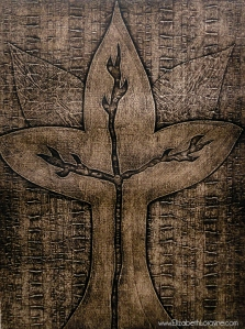 """Imprinted Spirit Vine, Sepia"" 2011. collagraph"