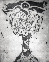 """Totem Phase 2"" 2011. Drypoint, Etching, Aquatint"