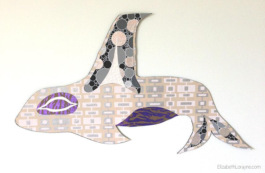 """Elizabeth Lorayne """"Orca"""" Collage, 24"""" x 14"""", 2013"""