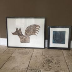 Framed collagraphs for Walsingham Gallery