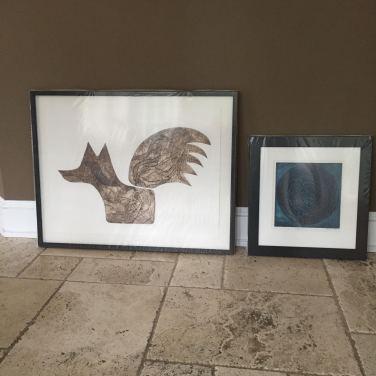 Framed collagraphs for Walsingham Gallery
